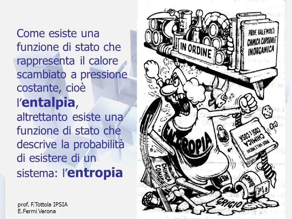 prof. F.Tottola IPSIA E.Fermi Verona 22 Come esiste una funzione di stato che rappresenta il calore scambiato a pressione costante, cioè l entalpia, a