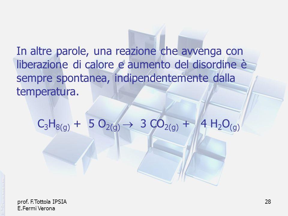 prof. F.Tottola IPSIA E.Fermi Verona 28 In altre parole, una reazione che avvenga con liberazione di calore e aumento del disordine è sempre spontanea