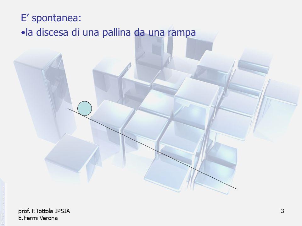 prof. F.Tottola IPSIA E.Fermi Verona 3 E spontanea: la discesa di una pallina da una rampa
