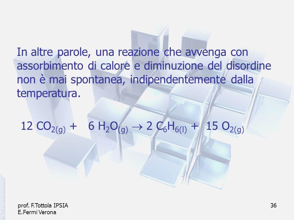 prof. F.Tottola IPSIA E.Fermi Verona 36 In altre parole, una reazione che avvenga con assorbimento di calore e diminuzione del disordine non è mai spo