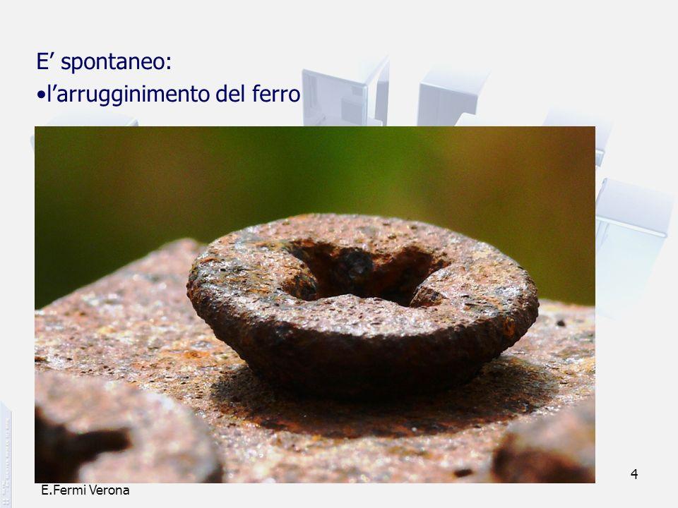 prof. F.Tottola IPSIA E.Fermi Verona 4 E spontaneo: larrugginimento del ferro