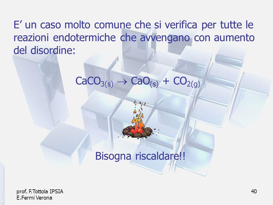 prof. F.Tottola IPSIA E.Fermi Verona 40 E un caso molto comune che si verifica per tutte le reazioni endotermiche che avvengano con aumento del disord