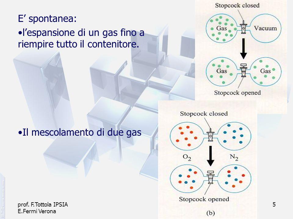 prof. F.Tottola IPSIA E.Fermi Verona 5 E spontanea: lespansione di un gas fino a riempire tutto il contenitore. Il mescolamento di due gas