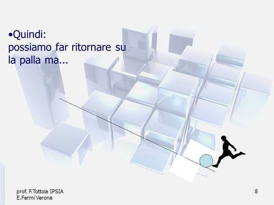 prof. F.Tottola IPSIA E.Fermi Verona 8 Quindi: possiamo far ritornare su la palla ma...