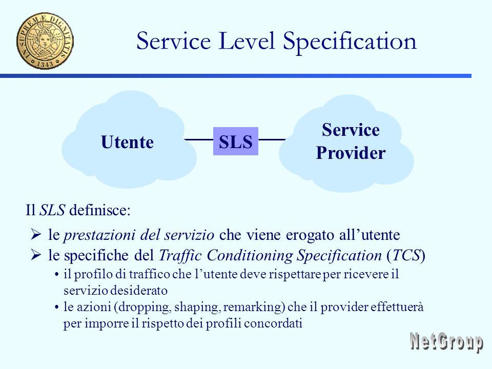 Service Level Specification SLSUtente Service Provider Il SLS definisce: le prestazioni del servizio che viene erogato allutente le specifiche del Traffic Conditioning Specification (TCS) il profilo di traffico che lutente deve rispettare per ricevere il servizio desiderato le azioni (dropping, shaping, remarking) che il provider effettuerà per imporre il rispetto dei profili concordati