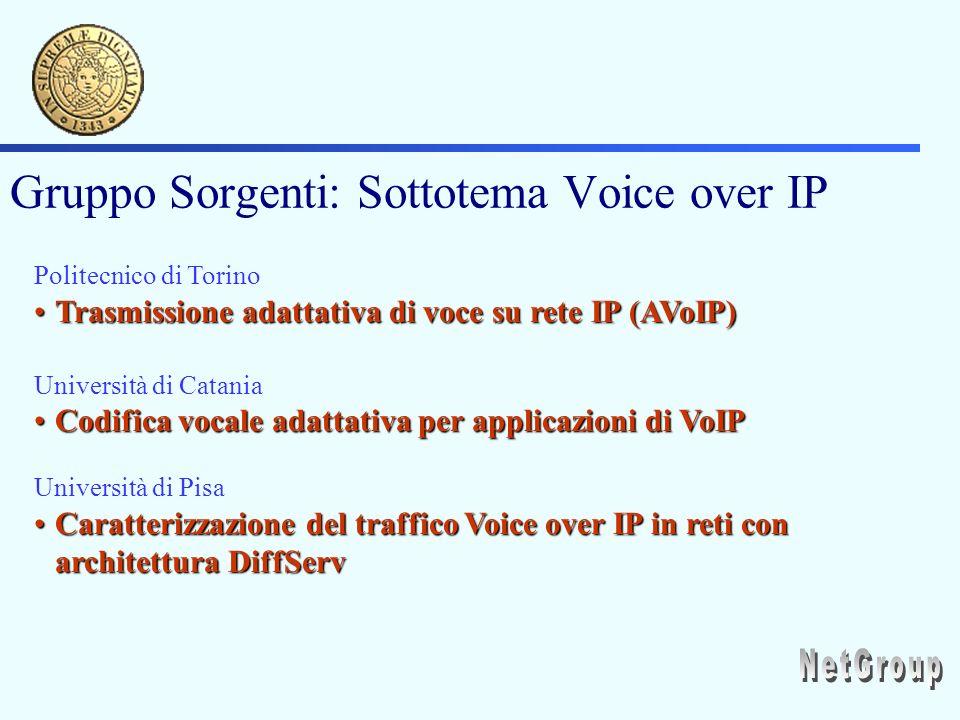 Gruppo Sorgenti: Sottotema Voice over IP Politecnico di Torino Trasmissione adattativa di voce su rete IP (AVoIP)Trasmissione adattativa di voce su rete IP (AVoIP) Università di Catania Codifica vocale adattativa per applicazioni di VoIPCodifica vocale adattativa per applicazioni di VoIP Università di Pisa Caratterizzazione del traffico Voice over IP in reti con architettura DiffServCaratterizzazione del traffico Voice over IP in reti con architettura DiffServ
