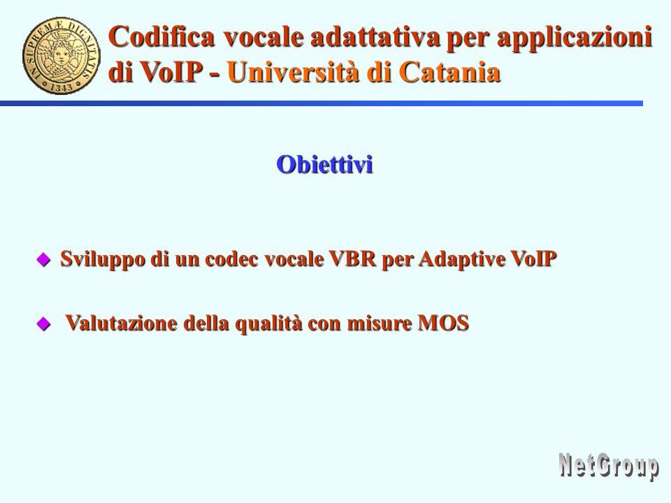 Codifica vocale adattativa per applicazioni di VoIP - Università di Catania u Sviluppo di un codec vocale VBR per Adaptive VoIP u Valutazione della qualità con misure MOS Obiettivi