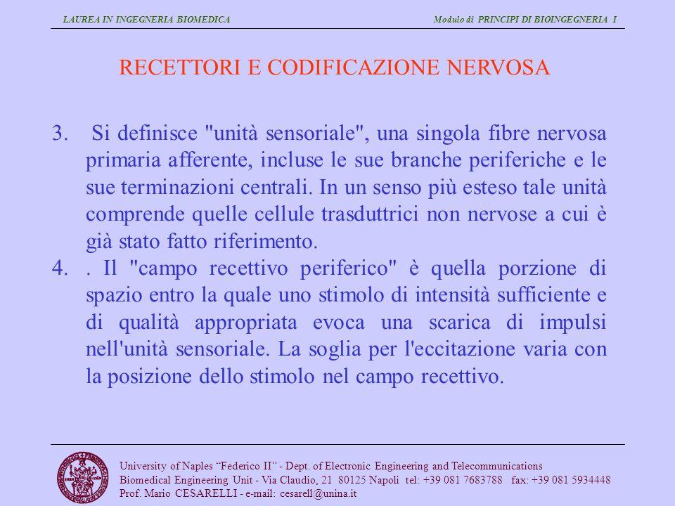 LAUREA IN INGEGNERIA BIOMEDICA Modulo di PRINCIPI DI BIOINGEGNERIA I University of Naples Federico II - Dept.