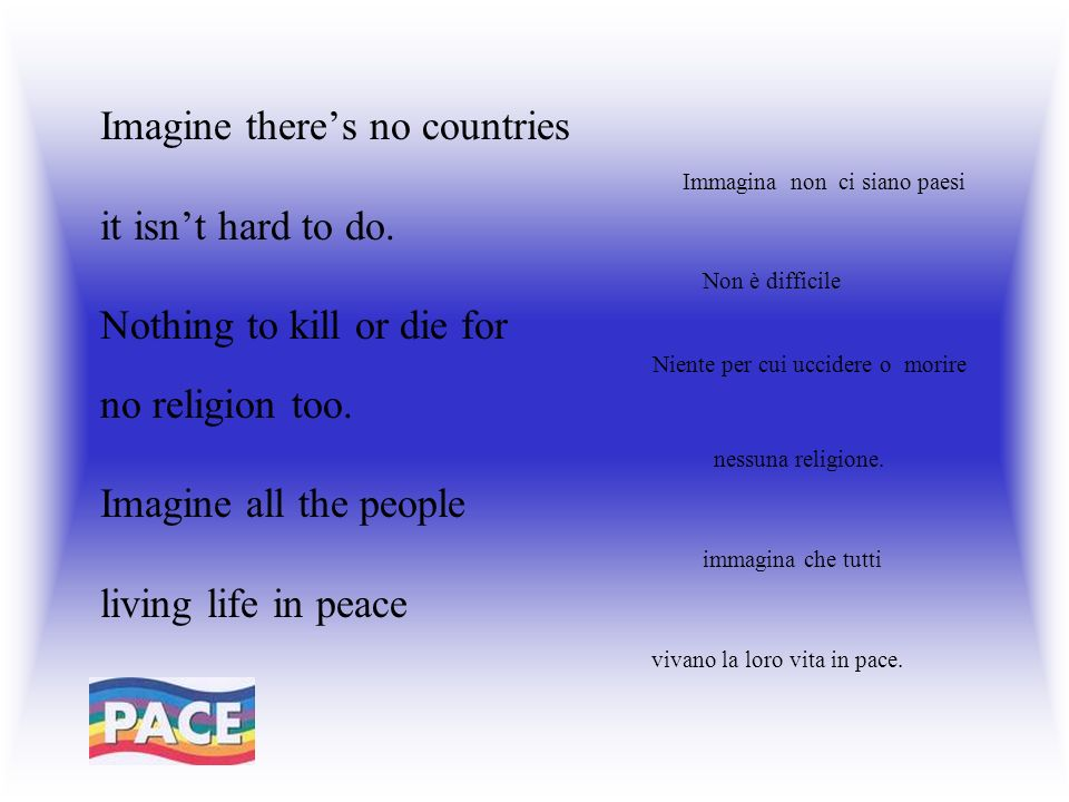 Imagine theres no countries Immagina non ci siano paesi it isnt hard to do.
