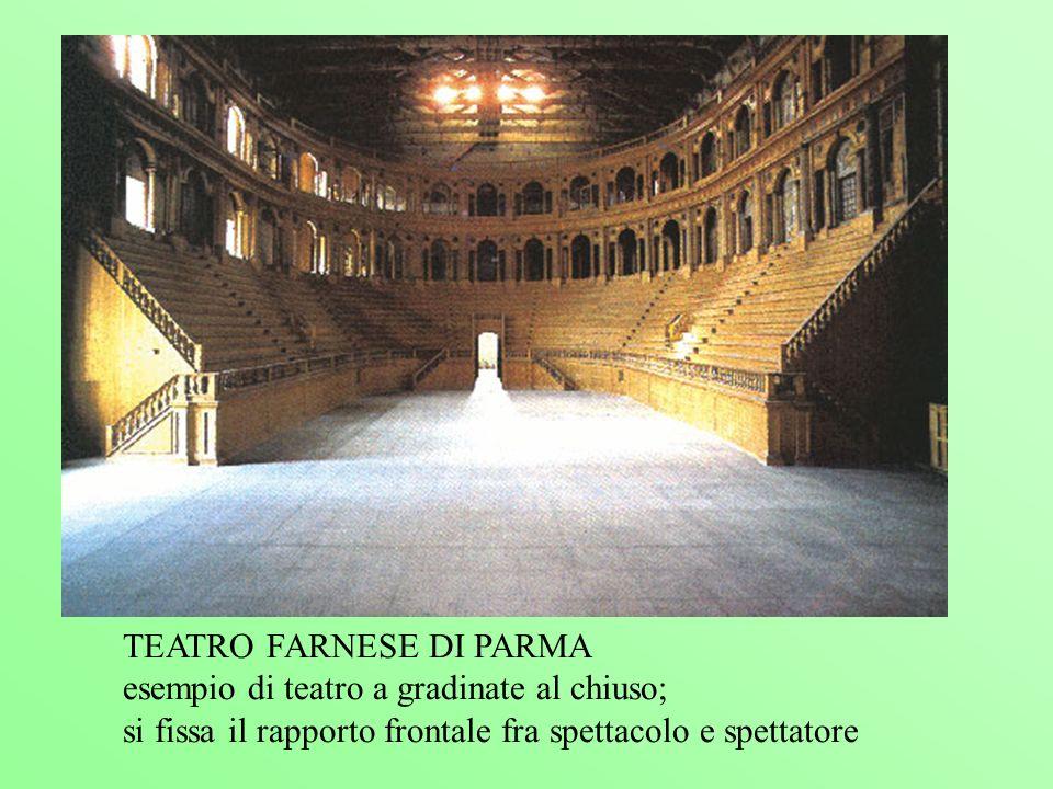 TEATRO FARNESE DI PARMA esempio di teatro a gradinate al chiuso; si fissa il rapporto frontale fra spettacolo e spettatore