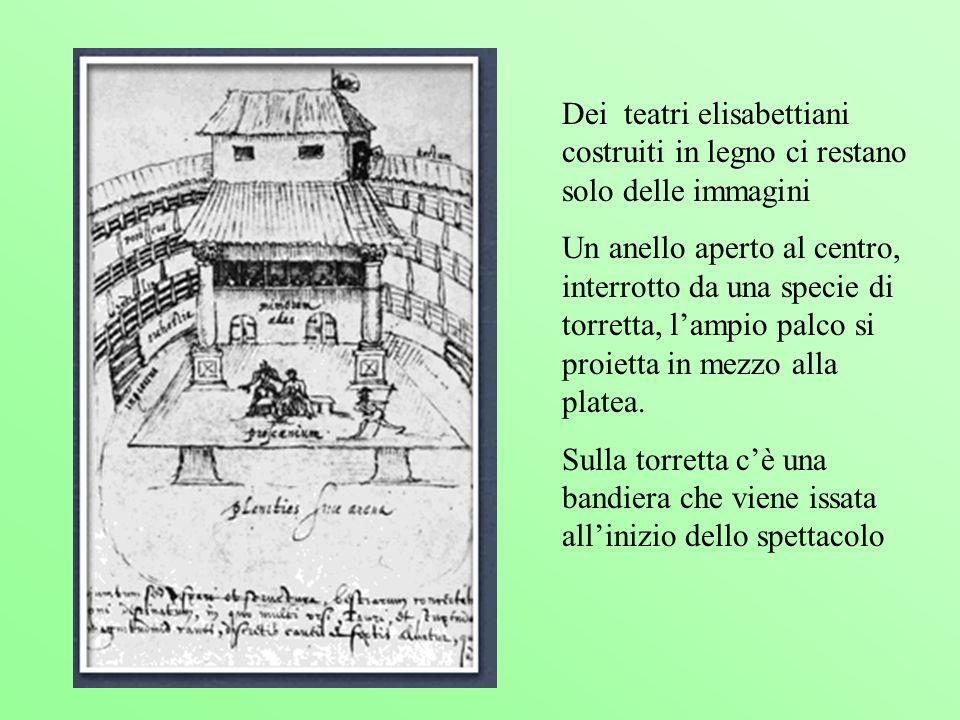 Dei teatri elisabettiani costruiti in legno ci restano solo delle immagini Un anello aperto al centro, interrotto da una specie di torretta, lampio pa