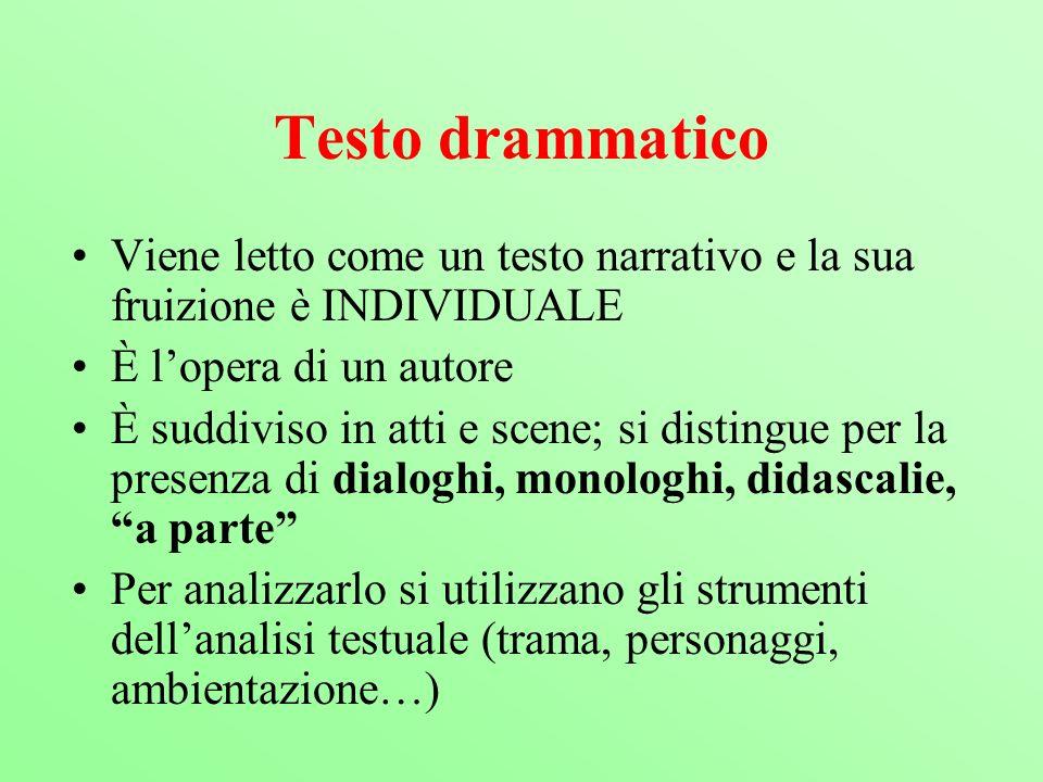 Testo drammatico Viene letto come un testo narrativo e la sua fruizione è INDIVIDUALE È lopera di un autore È suddiviso in atti e scene; si distingue