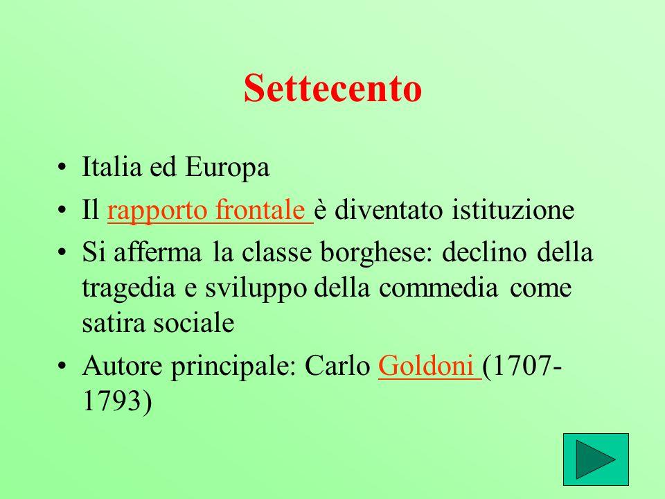 Settecento Italia ed Europa Il rapporto frontale è diventato istituzionerapporto frontale Si afferma la classe borghese: declino della tragedia e svil