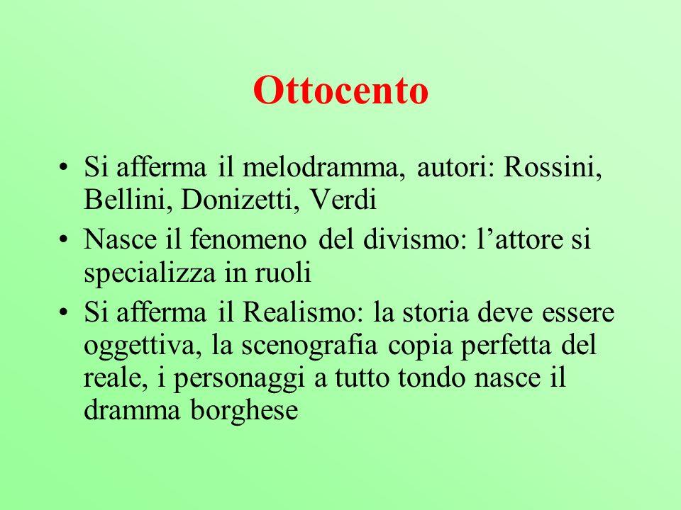 Ottocento Si afferma il melodramma, autori: Rossini, Bellini, Donizetti, Verdi Nasce il fenomeno del divismo: lattore si specializza in ruoli Si affer