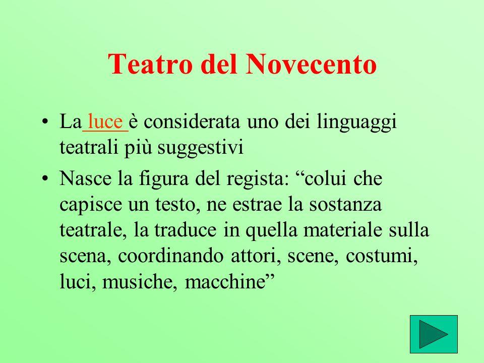 Teatro del Novecento La luce è considerata uno dei linguaggi teatrali più suggestivi luce Nasce la figura del regista: colui che capisce un testo, ne