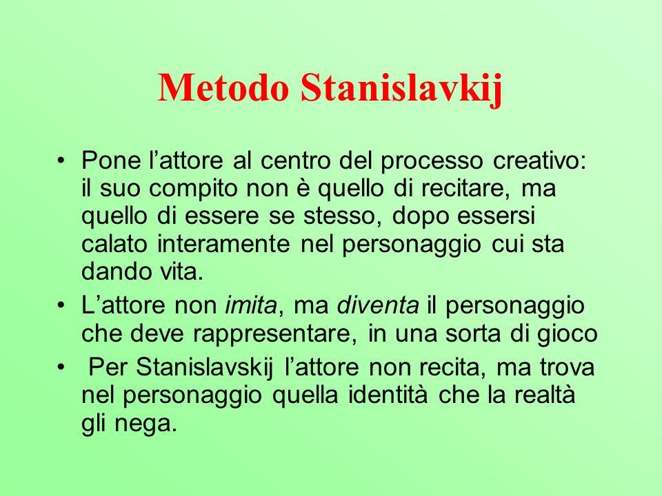 Metodo Stanislavkij Pone lattore al centro del processo creativo: il suo compito non è quello di recitare, ma quello di essere se stesso, dopo essersi