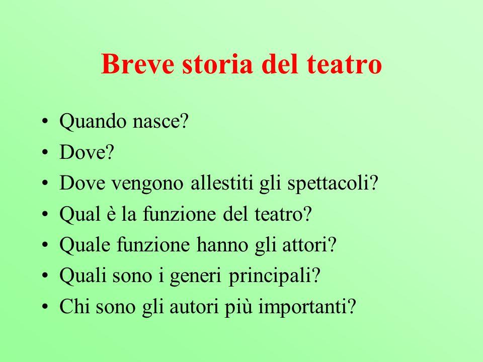 Breve storia del teatro Quando nasce? Dove? Dove vengono allestiti gli spettacoli? Qual è la funzione del teatro? Quale funzione hanno gli attori? Qua