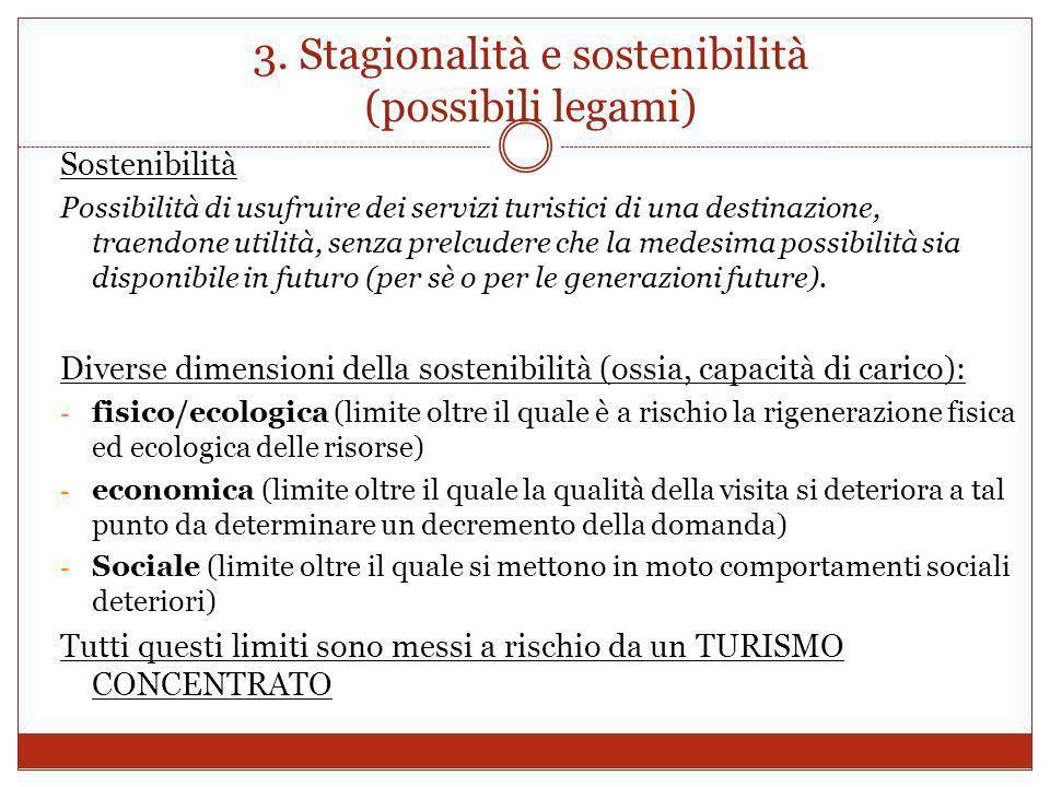 3. Stagionalità e sostenibilità (possibili legami) Sostenibilità Possibilità di usufruire dei servizi turistici di una destinazione, traendone utilità