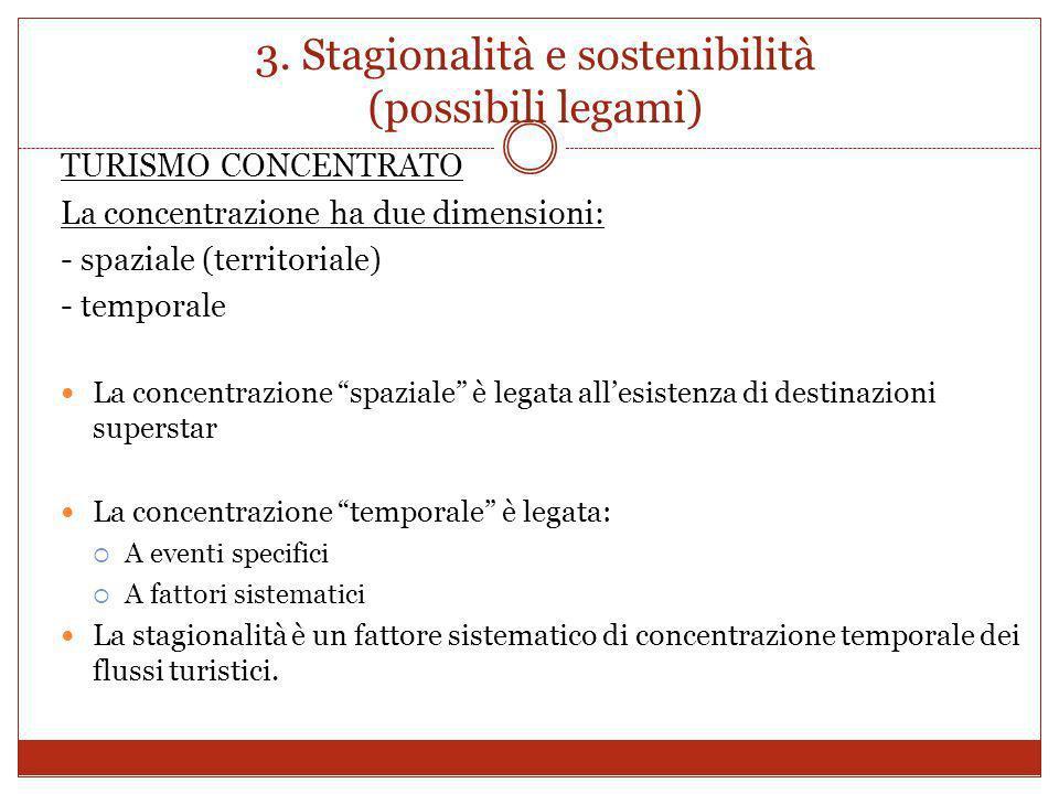 3. Stagionalità e sostenibilità (possibili legami) TURISMO CONCENTRATO La concentrazione ha due dimensioni: - spaziale (territoriale) - temporale La c