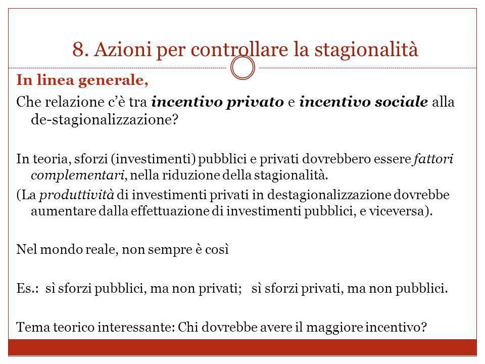 8. Azioni per controllare la stagionalità In linea generale, Che relazione cè tra incentivo privato e incentivo sociale alla de-stagionalizzazione? In