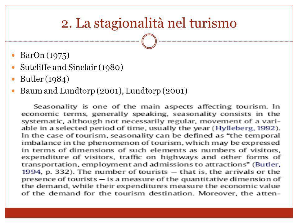2. La stagionalità nel turismo BarOn (1975) Sutcliffe and Sinclair (1980) Butler (1984) Baum and Lundtorp (2001), Lundtorp (2001)