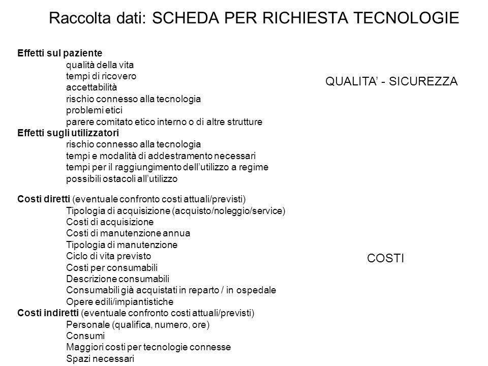7 La sola valutazione tecnico-ingegneristica non è sufficiente per migliorare lappropriatezza, scegliere le migliori tecnologie (high-tech) per il contesto ospedaliero in esame, conoscere ed ottimizzare i processi sanitari (know-how), ridurre i costi (low-cost).