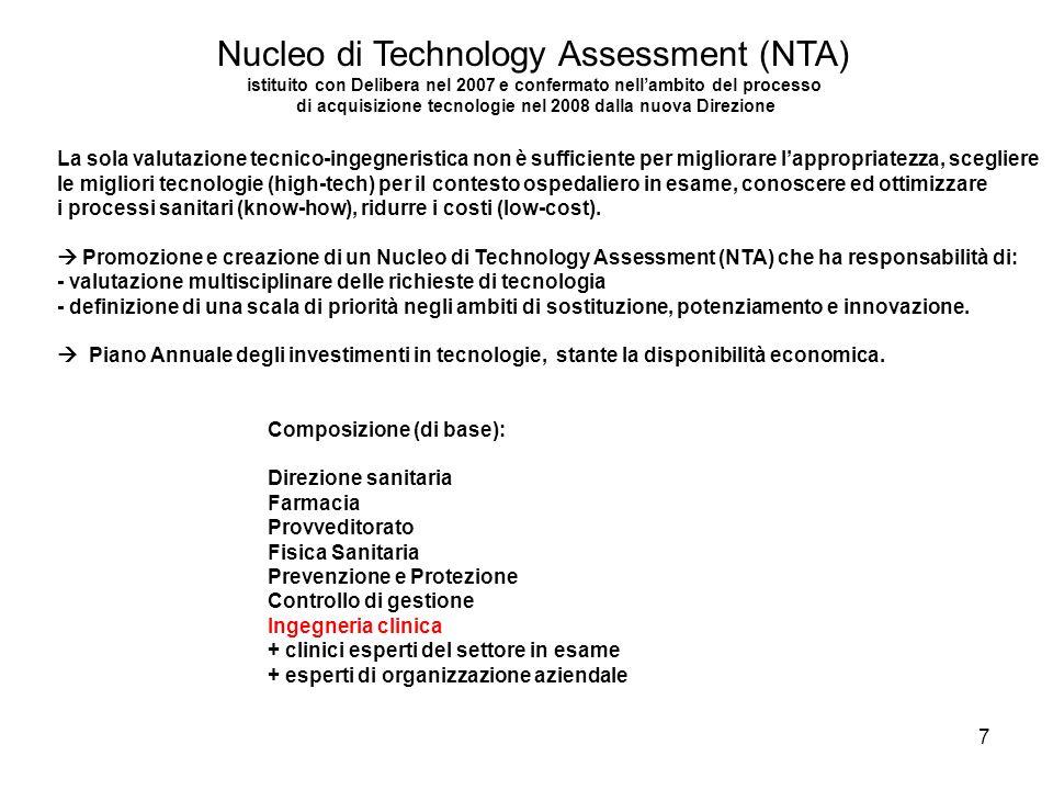 7 La sola valutazione tecnico-ingegneristica non è sufficiente per migliorare lappropriatezza, scegliere le migliori tecnologie (high-tech) per il con