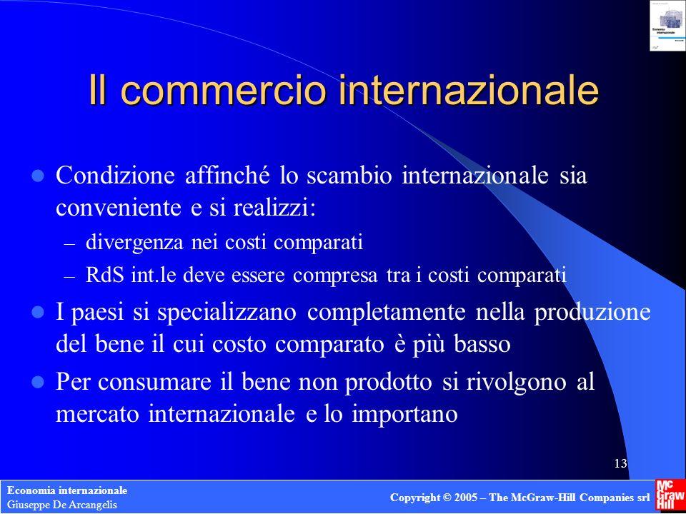 Economia internazionale Giuseppe De Arcangelis Copyright © 2005 – The McGraw-Hill Companies srl 12 Limportanza della RdS int.le Se sul mercato int.le: