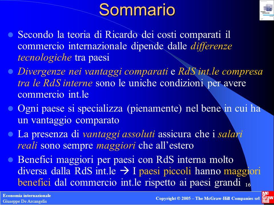 Economia internazionale Giuseppe De Arcangelis Copyright © 2005 – The McGraw-Hill Companies srl 15 Dimensione dei paesi e benefici del commercio int.l