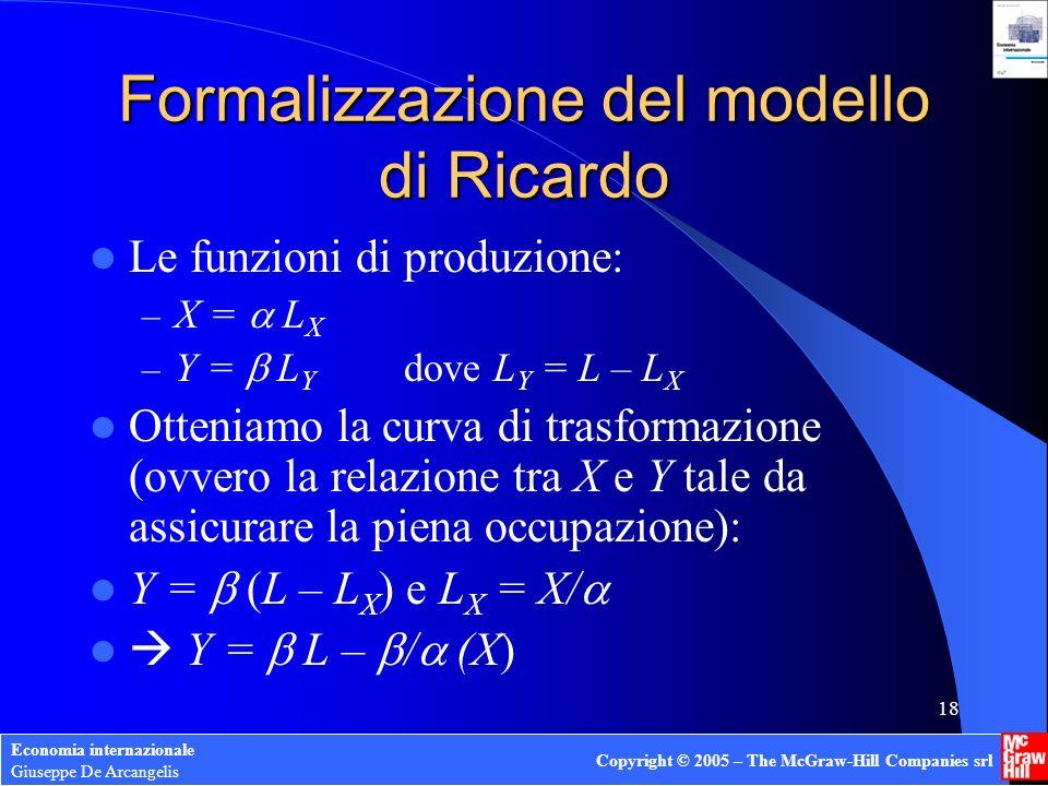 Economia internazionale Giuseppe De Arcangelis Copyright © 2005 – The McGraw-Hill Companies srl 17 Come si misurano i vantaggi comparati? Occorrerebbe