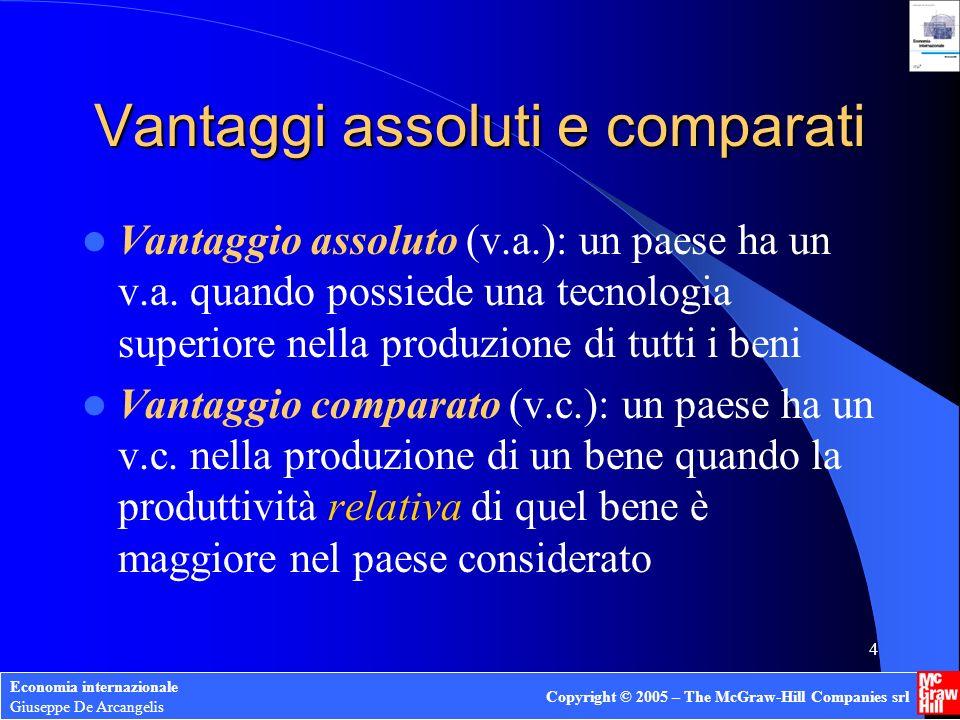 Economia internazionale Giuseppe De Arcangelis Copyright © 2005 – The McGraw-Hill Companies srl 4 Vantaggi assoluti e comparati Vantaggio assoluto (v.a.): un paese ha un v.a.