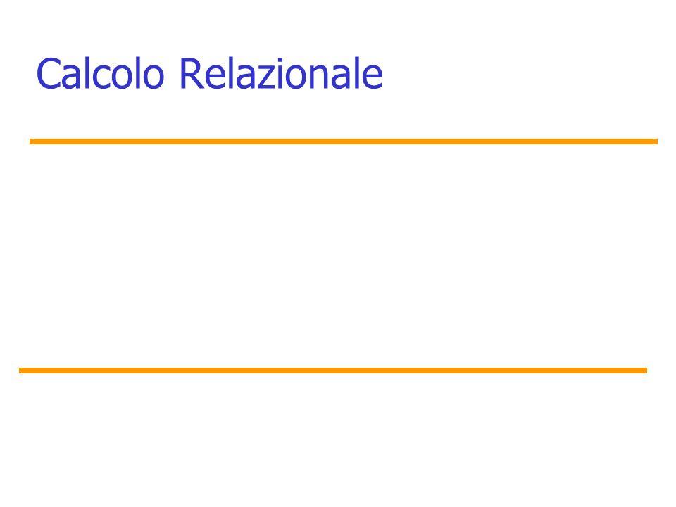 Marina Mongiello Espressione generale del calcolo relazionale su tuple Lespressione generale per rappresentare interrogazioni nel calcolo relazionale su tuple è la seguente: {t 1.A 1,t 2.A 2,..t n.A n   Condizione(t 1, t 2,.., t n,t n+1, t n+2,..., t n+m )} –t 1, t 2,.., t n,t n+1 sono tuple –ciascun A i è un attributo della relazione a cui t appartiene, –Condizione(t 1, t 2,.., t n,t n+1, t n+2,..., t n+m ) è la formula o condizione del calcolo relazionale su tuple.