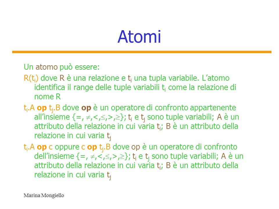 Marina Mongiello Atomi Un atomo può essere: R(t i ) dove R è una relazione e t i una tupla variabile. Latomo identifica il range delle tuple variabili