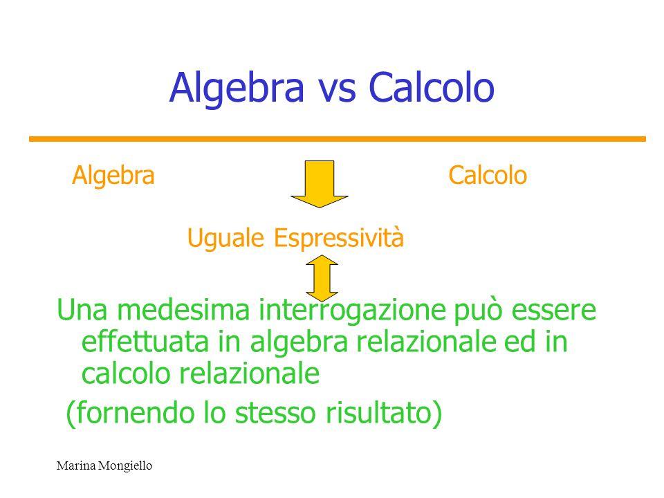 Marina Mongiello Algebra vs Calcolo Una medesima interrogazione può essere effettuata in algebra relazionale ed in calcolo relazionale (fornendo lo st