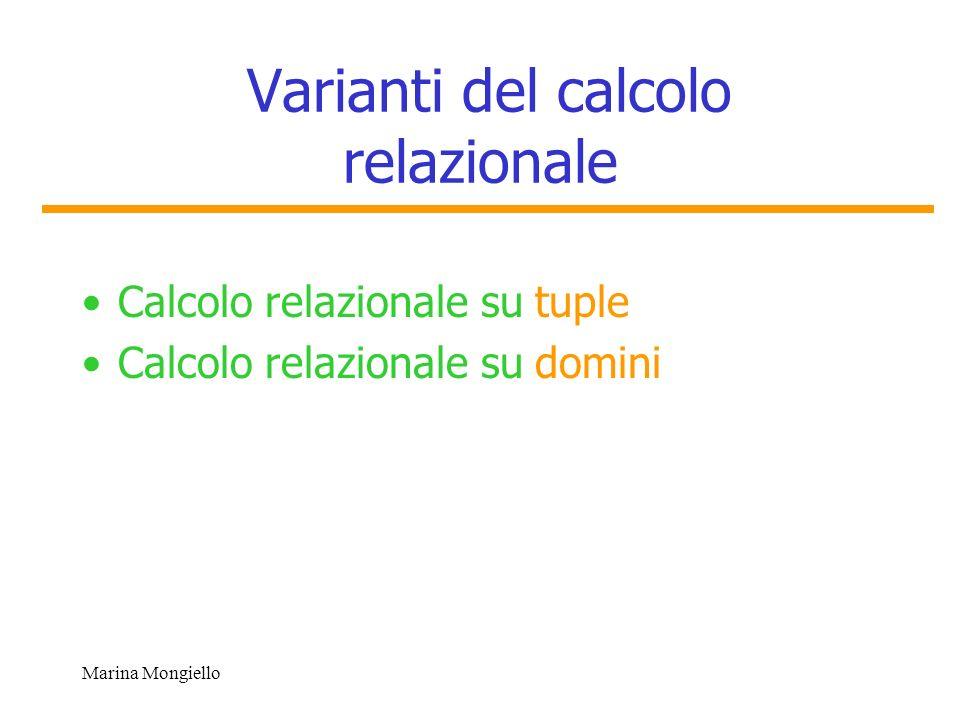 Marina Mongiello Database di esempio Sia data la seguente base di dati relazionale Impiegati(Codice, Nome, Cognome, Età, Indirizzo, DNo, Stipendio, CodiceCapo) Dipartimenti(DNumero,DNome, CodiceCapo) Sede(DNumero,DCittà) Progetti( PNumero, PNome, PSede, DNum) Lavora_su(ICodice,PNo,Ore) Dipendenti(ICodice, NomeDip, Sesso, DataN, Parentela)