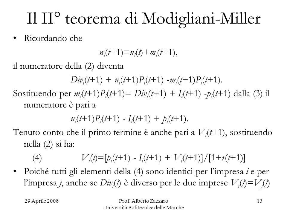 29 Aprile 2008Prof. Alberto Zazzaro Università Politecnica delle Marche 13 Il II° teorema di Modigliani-Miller Ricordando che n i (t+1)=n i (t)+m i (t