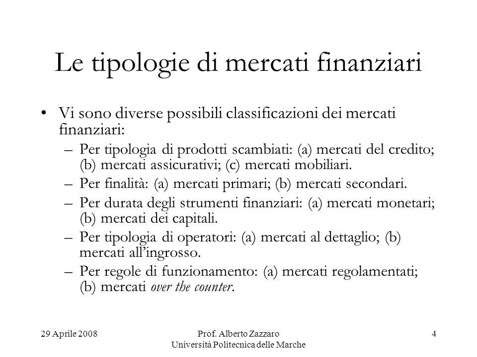 29 Aprile 2008Prof. Alberto Zazzaro Università Politecnica delle Marche 4 Le tipologie di mercati finanziari Vi sono diverse possibili classificazioni
