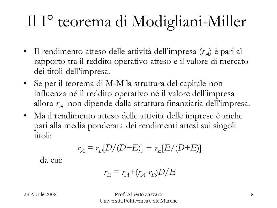 29 Aprile 2008Prof. Alberto Zazzaro Università Politecnica delle Marche 8 Il I° teorema di Modigliani-Miller Il rendimento atteso delle attività delli