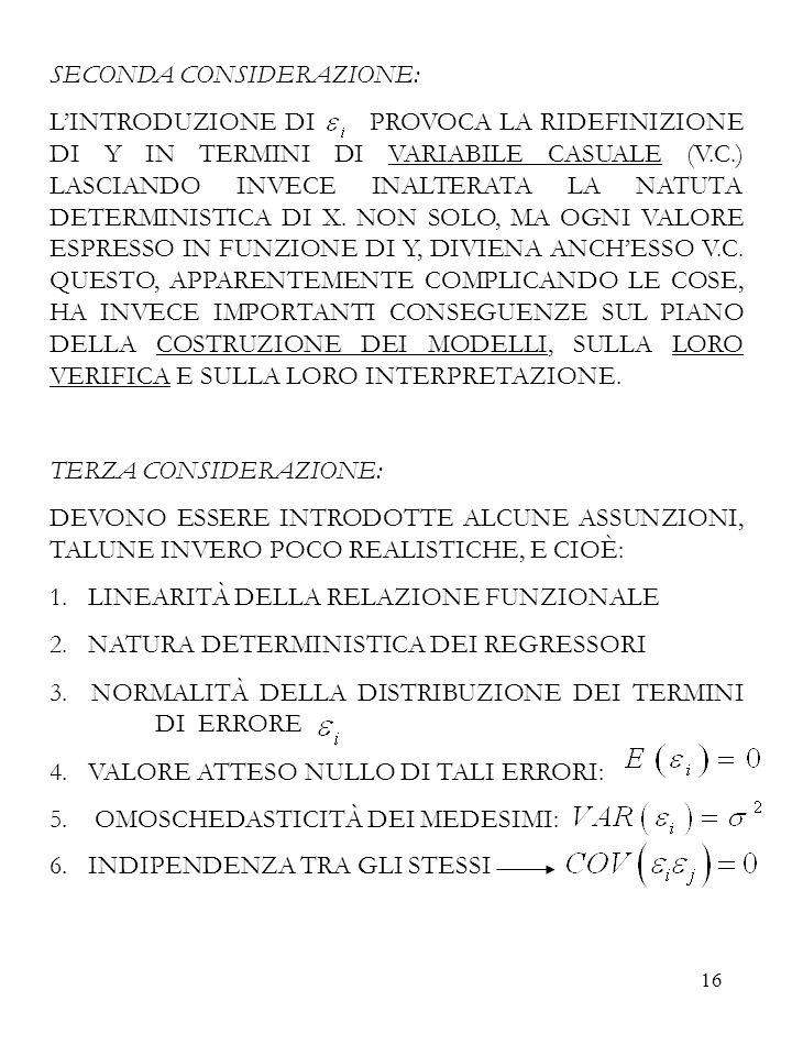 16 SECONDA CONSIDERAZIONE: LINTRODUZIONE DI PROVOCA LA RIDEFINIZIONE DI Y IN TERMINI DI VARIABILE CASUALE (V.C.) LASCIANDO INVECE INALTERATA LA NATUTA