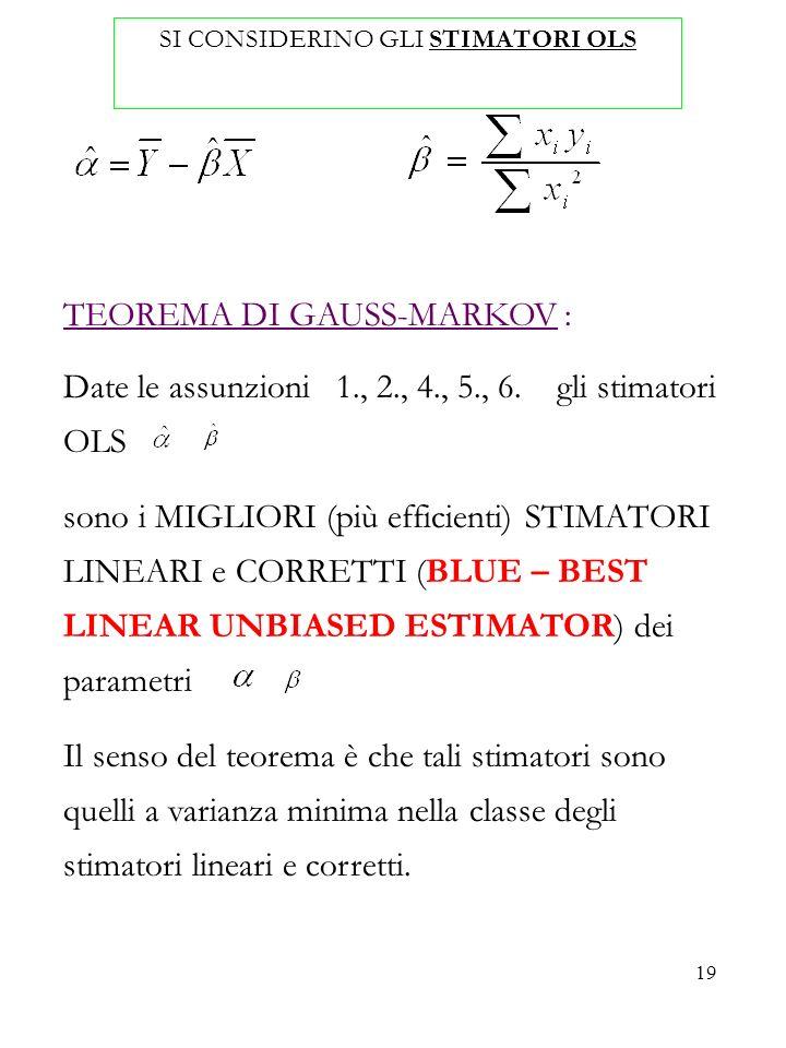 19 SI CONSIDERINO GLI STIMATORI OLS TEOREMA DI GAUSS-MARKOV : Date le assunzioni 1., 2., 4., 5., 6. gli stimatori OLS sono i MIGLIORI (più efficienti)