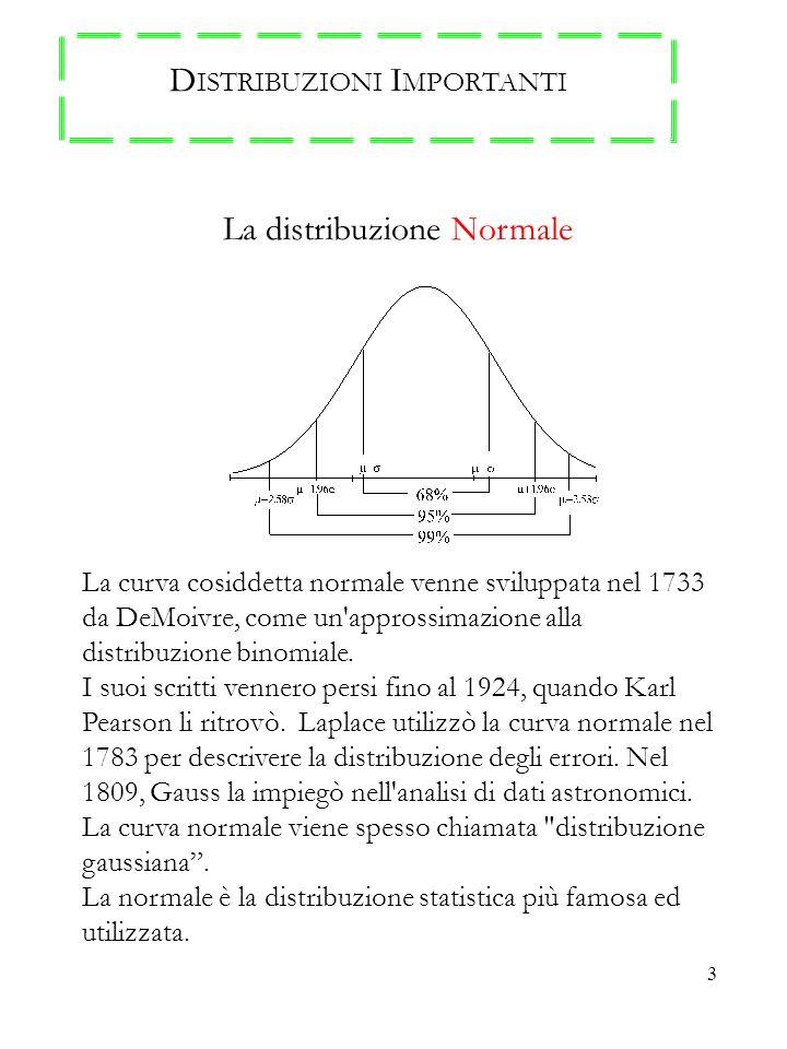 3 D ISTRIBUZIONI I MPORTANTI La distribuzione Normale La curva cosiddetta normale venne sviluppata nel 1733 da DeMoivre, come un'approssimazione alla