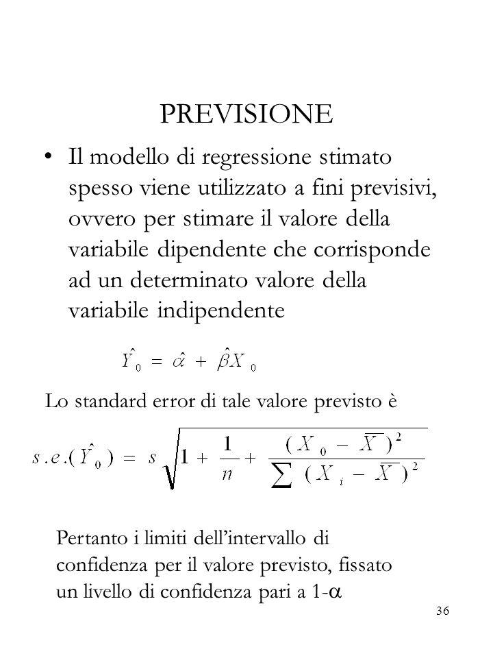 36 PREVISIONE Il modello di regressione stimato spesso viene utilizzato a fini previsivi, ovvero per stimare il valore della variabile dipendente che