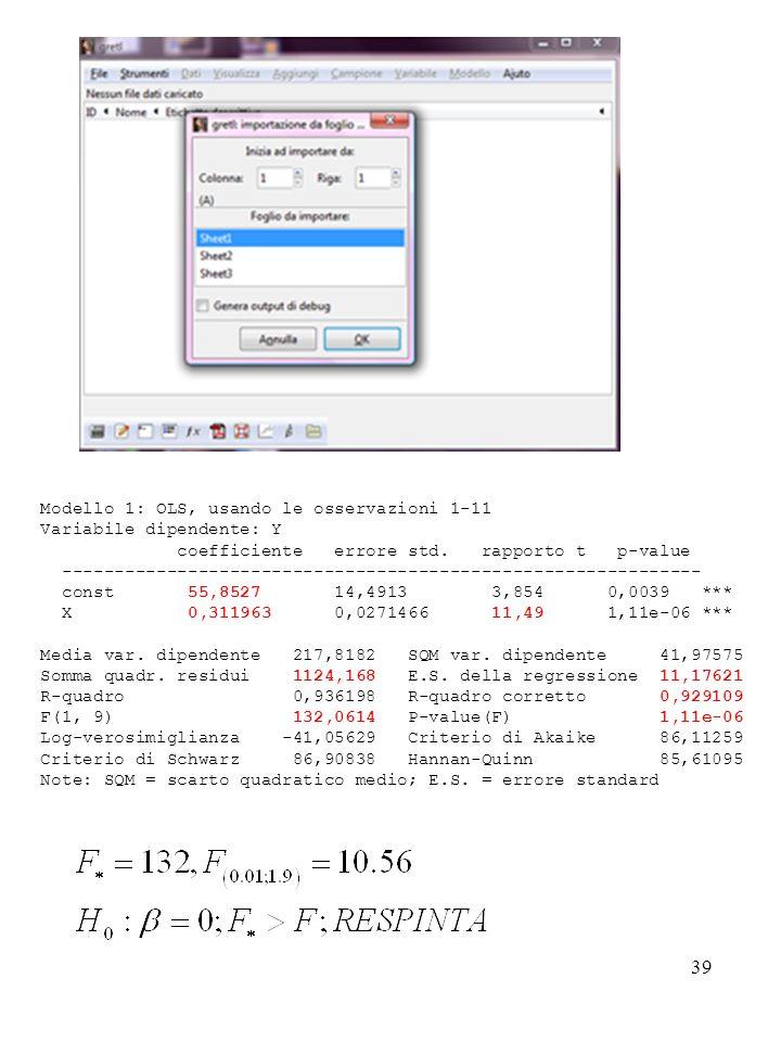 39 Modello 1: OLS, usando le osservazioni 1-11 Variabile dipendente: Y coefficiente errore std. rapporto t p-value -----------------------------------