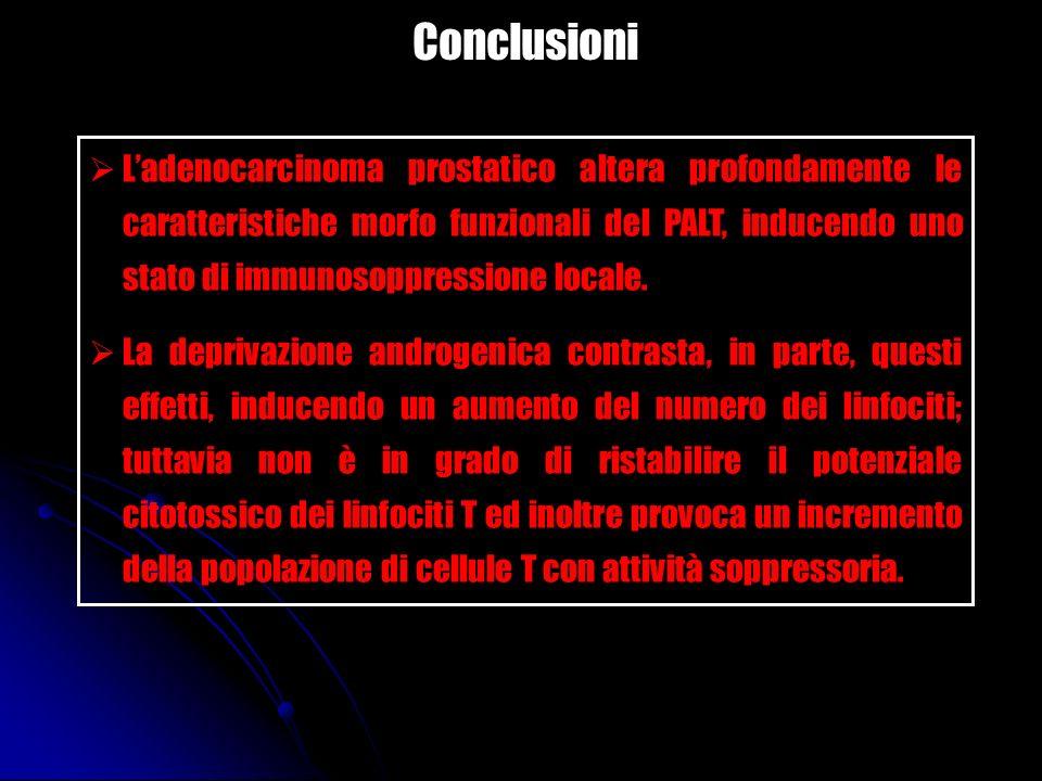 Conclusioni Ladenocarcinoma prostatico altera profondamente le caratteristiche morfo funzionali del PALT, inducendo uno stato di immunosoppressione lo