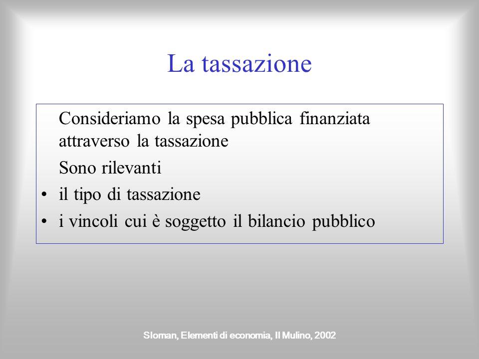 Sloman, Elementi di economia, Il Mulino, 2002 La tassazione Consideriamo la spesa pubblica finanziata attraverso la tassazione Sono rilevanti il tipo