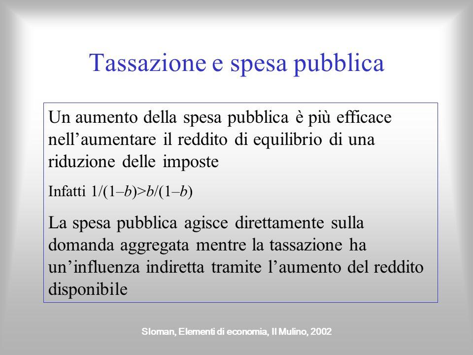 Sloman, Elementi di economia, Il Mulino, 2002 Tassazione e spesa pubblica Un aumento della spesa pubblica è più efficace nellaumentare il reddito di e