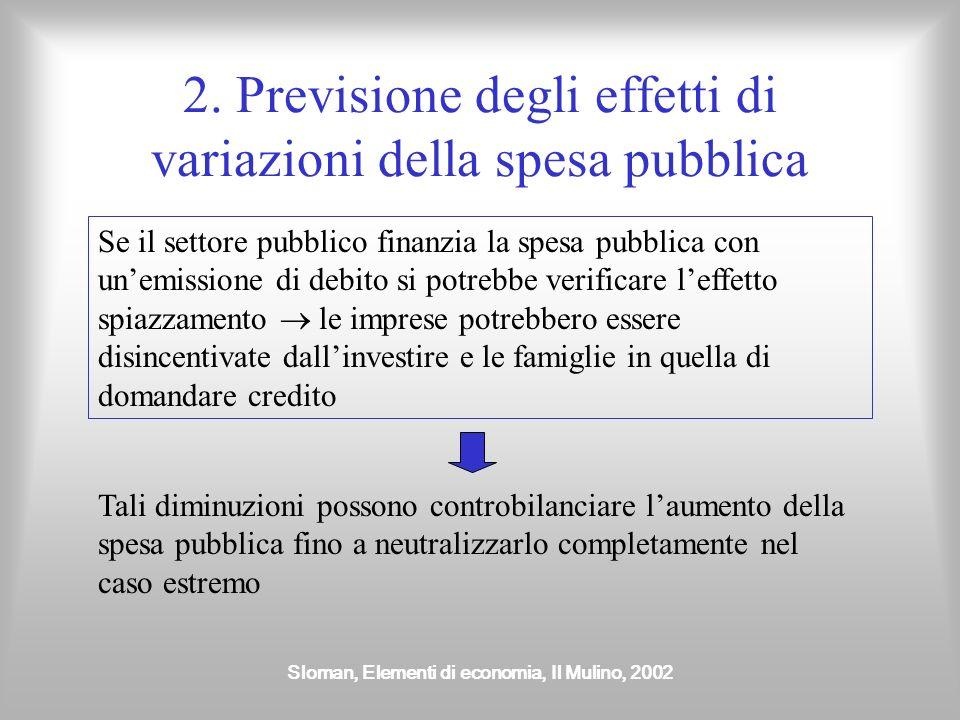 Sloman, Elementi di economia, Il Mulino, 2002 2. Previsione degli effetti di variazioni della spesa pubblica Se il settore pubblico finanzia la spesa
