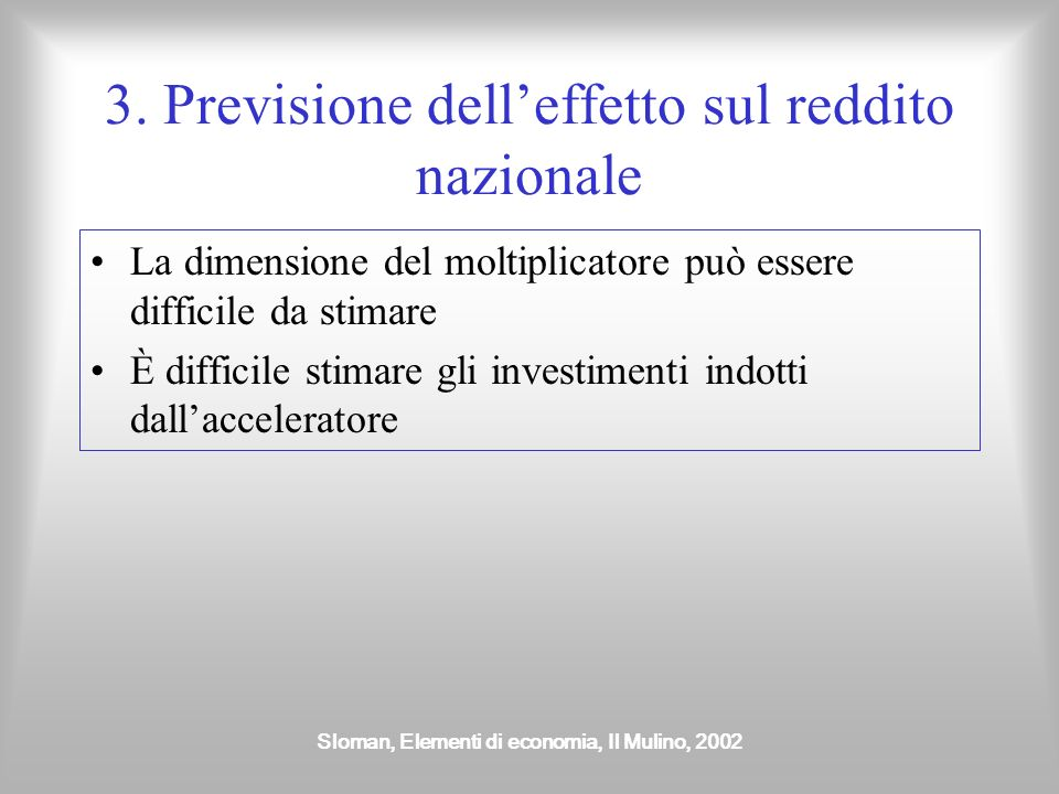 Sloman, Elementi di economia, Il Mulino, 2002 3. Previsione delleffetto sul reddito nazionale La dimensione del moltiplicatore può essere difficile da