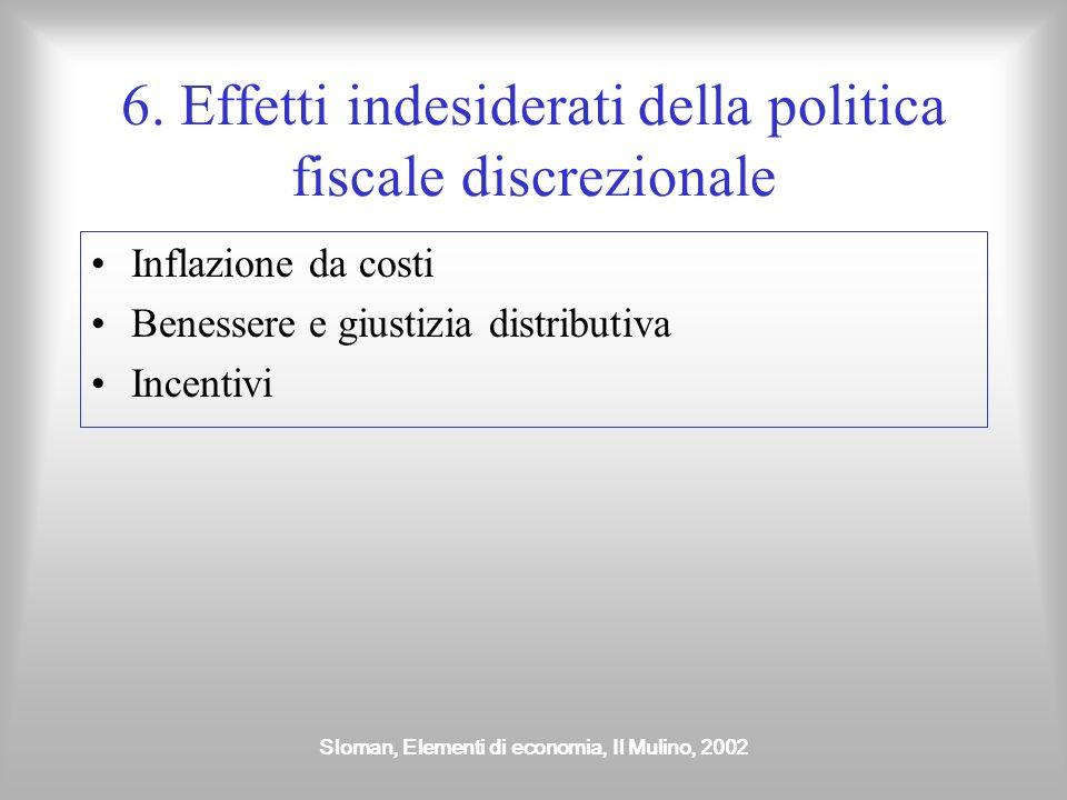 Sloman, Elementi di economia, Il Mulino, 2002 6. Effetti indesiderati della politica fiscale discrezionale Inflazione da costi Benessere e giustizia d