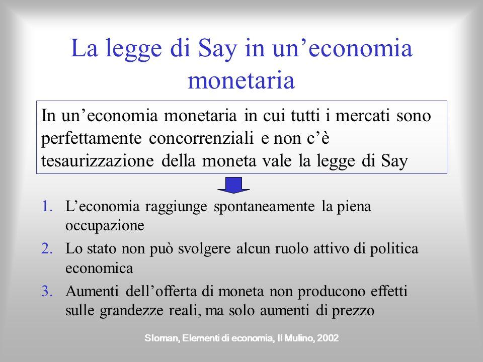 Sloman, Elementi di economia, Il Mulino, 2002 La legge di Say in uneconomia monetaria In uneconomia monetaria in cui tutti i mercati sono perfettament